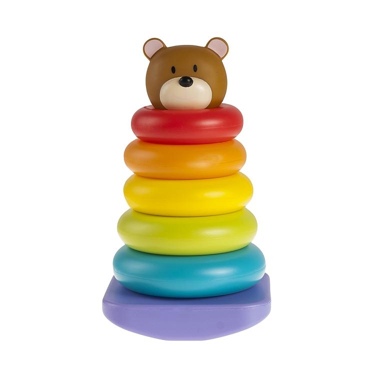 Smiki, Animal Stacker, Miś, plastikowa piramida, zabawka niemowlęca